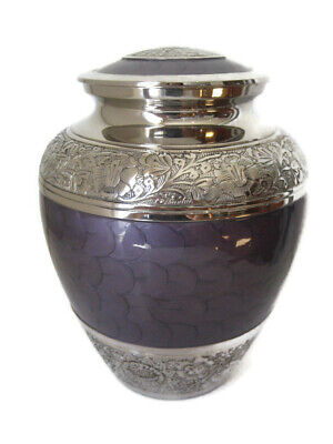 Purple Enamel and Nickel Large Full Sized Cremation Memorial Ashes Metal Urn