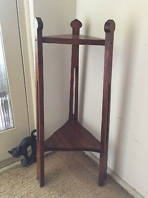 Vintage Table Plant Stand. Lovely wood tones. Sturdy. Nicely carved