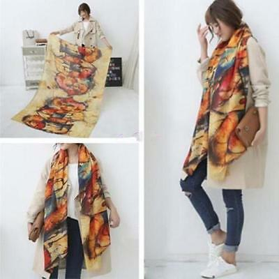 Fashion Ladies Graffiti imitation Cashmere Long Scarf  Women Soft Print Shawl Z