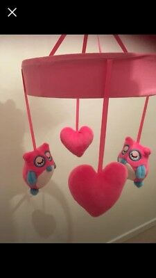 Wind Up Pink Musical Cot Mobile Owls And Hearts