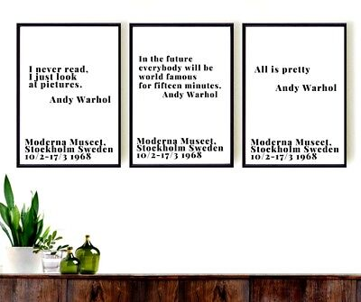 Andy Warhol set of 3 Prints  quotes - gift - New home