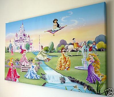 Disney Princess Canvas Wall Art Picture 18 X 32 Inch