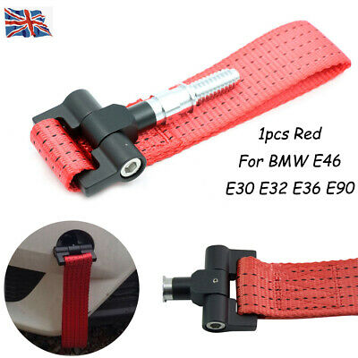 1X 5000lb For BMW E30 E32 E36 E46 E90 Car Trailer Ring Tow Towing Hook Strap RED