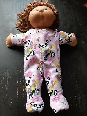 Homemade Cabbage Patch Doll Pink with Pandas Coverall Pyjamas
