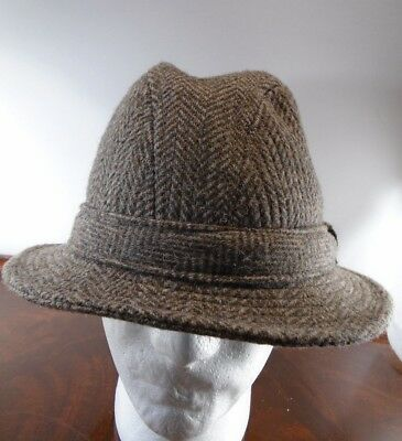 e2885568a3e VINTAGE TWEED WOOL Fedora Hat Plaid LL Bean Walking Hat size 7 1 4 ...