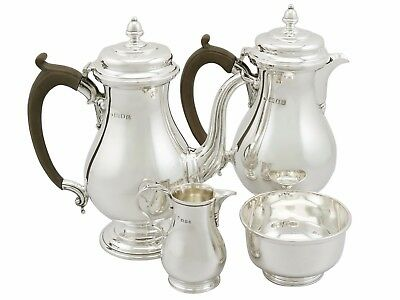 Antique George V Sterling Silver Café au Lait Set, George I Style 1039g