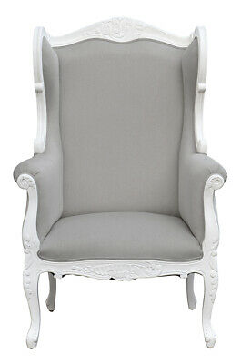 French Louis XV  Wing Chair  - White  with Grey Twill  fabric