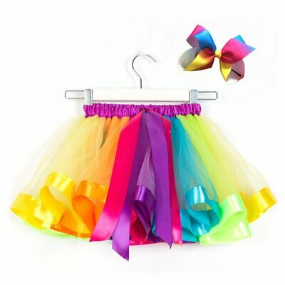 Girls Rainbow Fancy Princess Dress Up Skirt Hallow B∨