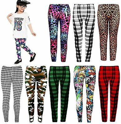 Girls Tartan Check Camo Leopard Pattern Full Length Stretch Kids Print Leggings