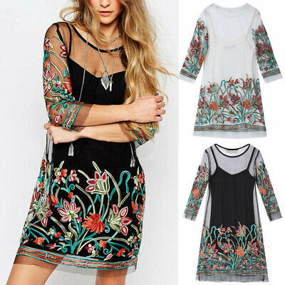 S-5XL Plus Size Casual Women's Cropped Sleeves Mesh Round Neck Embroidered Dress