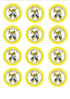 Set Of 12 Edible Transformers Bumblebee Cupcake Toppers