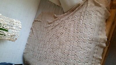 Antique Crochet Table Cloth Vintage  Rectangle   (Ref Bi 1)