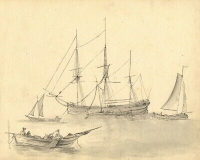 Fishing Sailboats and Schooner - Original mid-19th-century watercolour painting