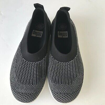 5f0bebc5fa0a FitFlop Women s Uberknit Ballerina Black Knit Flats Sneakers Shoes Size 8  US.