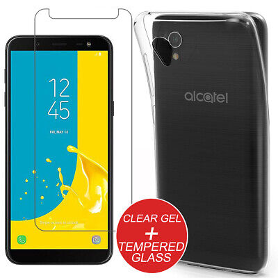 For Alcatel 1 (one) Shockproof Slim Clear TPU Gel Case Cover + Tempered Glass