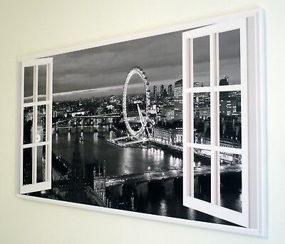 Black And White  London Window Canvas Print Wall Art  Picture   18 X 32 Inch