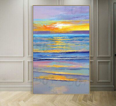HH007 Modern Home decor 100% Hand-painted Scenery oil painting Sunrise at sea