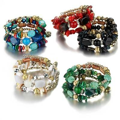 Multilayer Charm Boho Bracelets for Women Resin Stone Bangles Ethnic Style