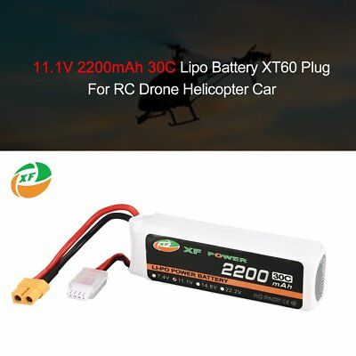 XF POWER 11.1V 2200mAh 30C 3S Lipo Battery XT60 For RC Drone Helicopter Carmz