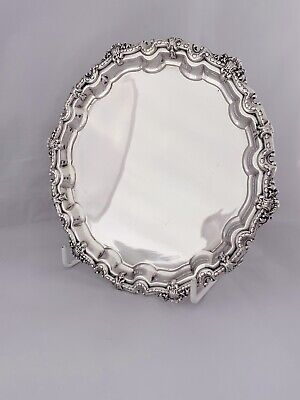 Small Sterling Solid Silver Georgian Style Waiter Of Tray 1957 Birmingham