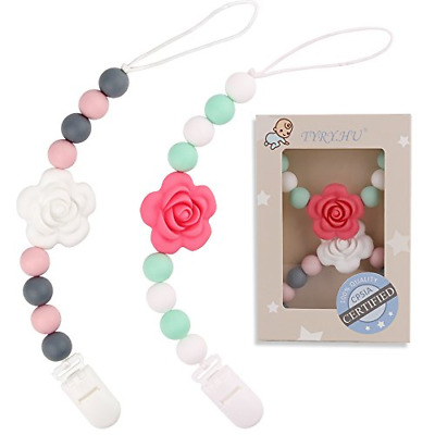 TYRY.HU Teething Dummy Clips Soother Chains Silicone Teether Pacifier Chain Baby