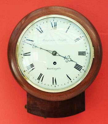 "Antique English Benjamin Smythe Harrogate 8"" Convex 8 Day Fusee Dial Clock"