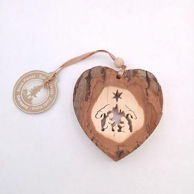 Black Forest Germany Scroll Cut Heart Shaped Wooden Christmas Nativity Ornament