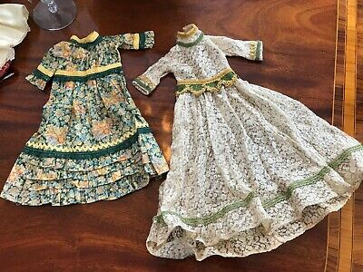 2 Hand Made Lace and Cotton Green Floral Dresses for Antique German French Dolls