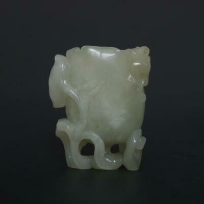 Antique Chinese Carved Natural Nephrite HeTian Jade Brush Washer-lotus leaf