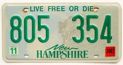 """New Hampshire 2002 """"Old Man of the Mountain"""" License Plate, 805-354"""