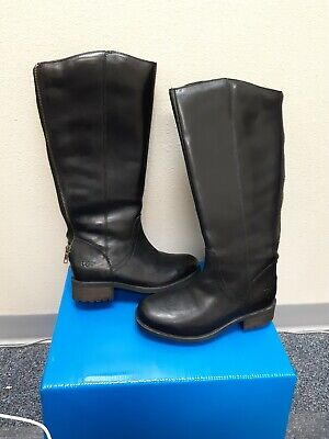 77a6f6a13ba UGG Australia W Seldon 1006038 Black Leather Riding Boots Size 6 USA