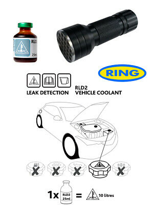UV Dye & Torch Kit Leak Detection Dye Car Radiator/Hose/Water Coolant Pipe RLD2
