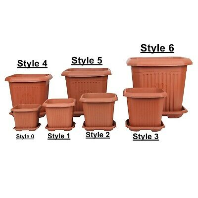 Strong Plastic Square Flower Plant Pot and Saucer. Grooved Base In/Out Multibuy.