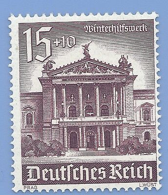 Nazi Germany 3rd Reich 1940 Winter Charity Theater in Prag 15+10 Stamp WW2 ERA