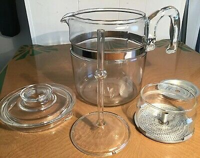 Vintage Pyrex Flameware  Glass Percolator Coffee Maker, Inside Parts Mis-matched