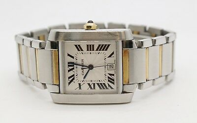7236d64a9f4 CARTIER TANK FRANCAISE 2302 Large Steel   18K Gold Automatic Watch ...