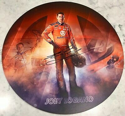 "2018 Joey Logano Auto Trader Pennzoil Signed Auto 9"" Round Post Hero Card"