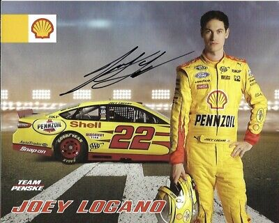 2015 Joey Logano Shell Pennzoil AAA NASCAR Signed Auto 8x10 Round Post Hero Card