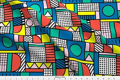 Color Block Primary Colors Bold Lines Black Fabric Printed by Spoonflower BTY