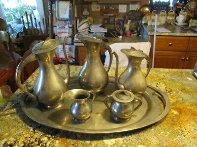 Vintage Silver Plated 6 pieces Tea Set, Milk Jug, Coffe Pot, Sugar Bowl v/heavy