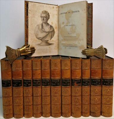 1851-1856 Grote History of Greece 12 Vols Italy Athens Syracuse 25 Maps Plates