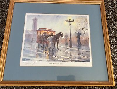 Brian Morger Signed Numbered Art Print Time Tower And Trolley Framed