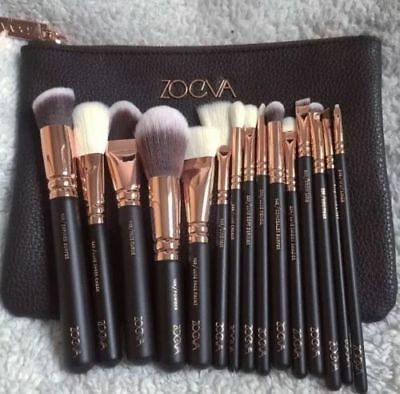 New Zoeva Makeup Brushes Set 15 Pcs Uk Stock Rose Gold+ Bag