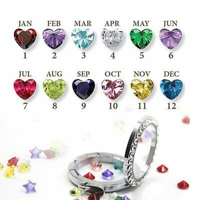 10pcs Birthstones Heart Living Memory Floating Charms Locket Bracelet Necklace