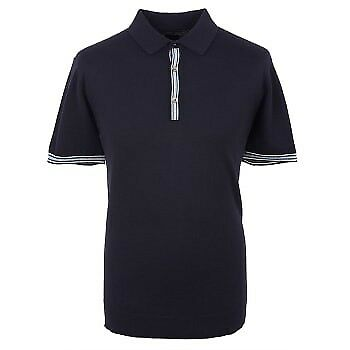 BNWT Pretty Green Contrast Tipped Knitted Polo Shirt Navy Blue M RRP£85 Cashmere