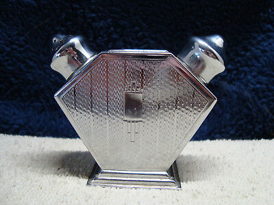Art Deco two sided silver plate metal salt & pepper shaker set.