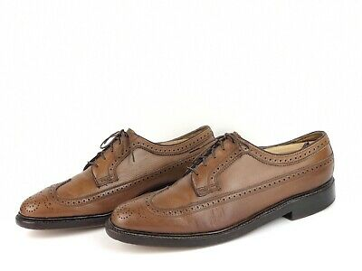 7a6f562fc8c89 VINTAGE FLORSHEIM IMPERIAL Wingtip Oxford Shoes 9.5 Brown Leather 5 Nail V  Cleat