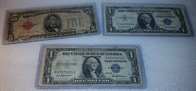 1928-C $5 1935-F $1 1957 $1 US Paper Money, Large Red Seal / Silver Certificate