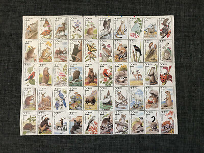 US NATURE SCOTT #2286-2335 22c NORTH AMERICAN WILDLIFE 50 MINT NH VF STAMP SHEET