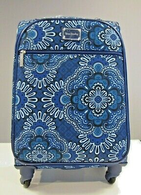 """Vera Bradley Spinner Travel Luggage Suitcase Blue Tapestry 22"""" Inch New"""